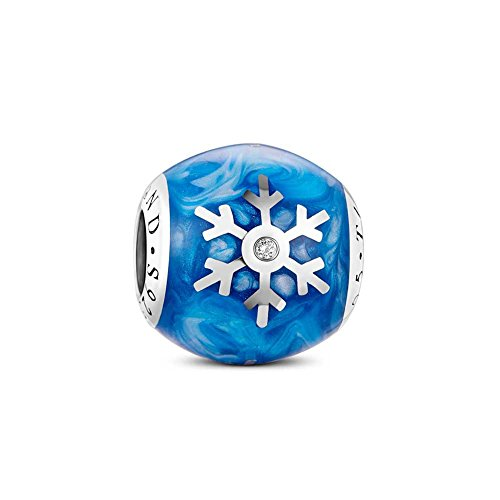 Tinysand Pandora Styling Blau Himmelszelt Schoen Rund Ellipse Eiskristall Schneeflocke Charm Charms