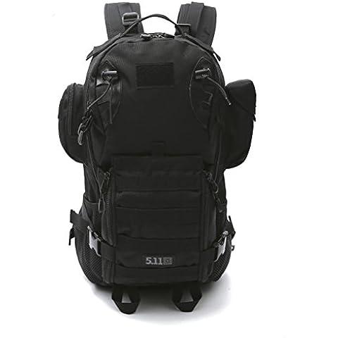 dushow Militar ejército mochila/mochilas Camping senderismo deporte Ourdoor equipaje escalada montañismo viajes hombro bolsa de senderismo, color negro, tamaño talla