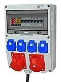 NWP Stromverteiler mit Digitalanzeige (Strom, Spannung und Frequenz) - 1x CEE-Dose 32A 400V, 1x CEE-Dose 16A 400V, 4x Schuko 230V 16A - 1,2m 32A 400V Zuleitung H07RN-F 5G4-4x LS 1B16A 1x LS 3B16A