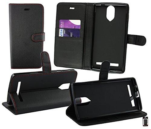 Emartbuy® Wileyfox Storm 4G Dual Sim Brieftaschen Etui Hülle Case Cover aus PU Leder Schwarz ( Rot Stitching ) mit Kreditkartenfächern