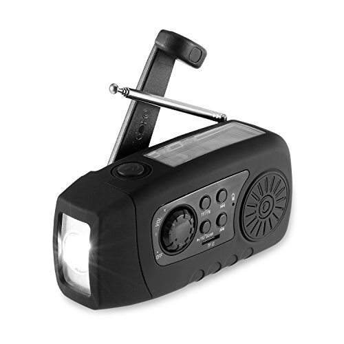 Solar Radio, Unionshopping Tragbare Solar Notfall-Hand-Kurbel Self Powered FM Radio mit [2000mAh] USB-Energien-Bank, LED-Taschenlampe, MP3-TF-Karte Unterstützung für Outdoor-Camping-Wandern (Schwarz)