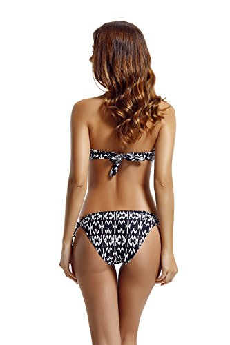 Zeraca Damen Neckholder Bandeau Bademode Bikini Set Refracted Geo