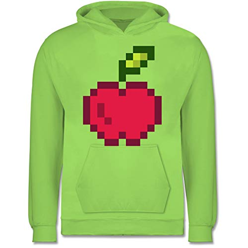 & Fasching Kinder - Pixel Apfel - Karneval Kostüm - 12-13 Jahre (152) - Limonengrün - JH001K - Kinder Hoodie ()