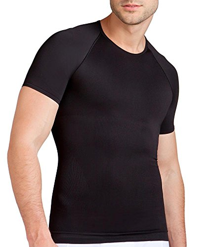 Spanx Mens Zoned Sport Performance Crew Neck for Abs, Torso and Improved Posture Black
