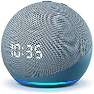 All-new Echo Dot (4th Gen) with clock | Next generation smart speaker with improved bass, LED display and Alex