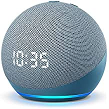 All-new Echo Dot (4th Gen) with clock | Next generation smart speaker with powerful bass, LED display and Alexa (Blue)
