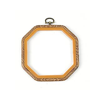 Embroidery Hoop - Durable Art Photo Frame Cross Stitch Hoop Ring Embroidery Circle Sewing Kit Frame Craft (Round, Oval, Rectangle, Octagon)(14cm*14cm,Octagon)