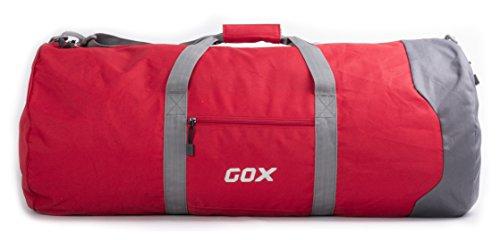 Borsone Pieghevole da Viaggio per Bagagli, GOX Premium Impermeabile Grande borsone da viaggio con tracolla in 1000D Polyester, per Sport, Palestra, Camping (Large, Rosso) Rosso