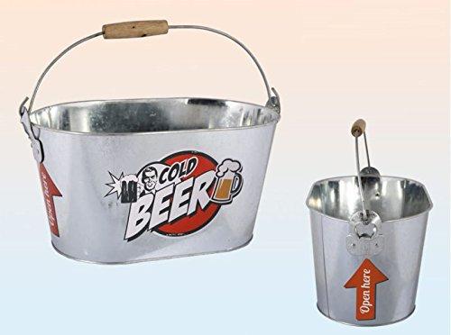 Biereimer Bierkühler Eiseimer Metalleimer Vintage Design mit 2 Flaschenöffner 6 Liter