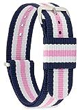 MOMENTO Cinturino Nato per Orologio Uomo Donna con Fibbia in Acciaio Inossidabile in Argento e Tessuto Nylon in Blu Bianco Rosa 18mm