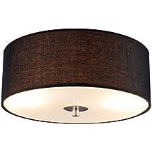 QAZQA Modern Deckenleuchte Deckenlampe Lampe Leuchte Drum Mit Schirm 30 Rund Schwarz