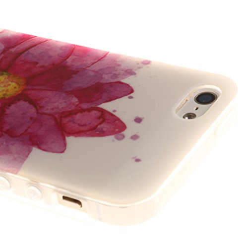 Coque Housse pour iPhone SE 5 5S, iPhone SE 5 5S Coque Silicone Etui Housse, iPhone SE 5 5S Souple Coque Etui en Silicone, iPhone SE 5 5S Silicone Transparent Case TPU Cover, Cozy Hut Etui de Protecti hibiscus