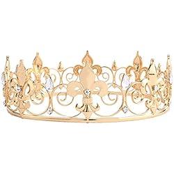 Santfe dorado Royal King corona Reina de cristal diadema tiaras Pageant boda novia pelo joyería