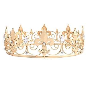 santfe Gold Royal King Krone Diadem Kristall Queen Tiaras Festzug Hochzeit Brautschmuck Haarschmuck Schmuck