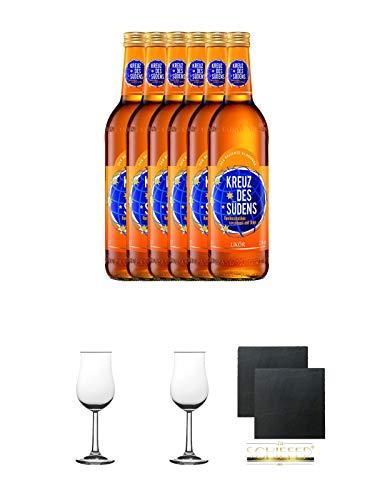 Kreuz des Südens Aprikosen Likör verfeinert mit Rum 6 x 0,7 Liter + 2 Bugatti Nosing Gläser mit Eichstrich 2cl und 4cl + 2 Schiefer Glasuntersetzer eckig ca. 9,5 cm Ø - Aprikosen-likör