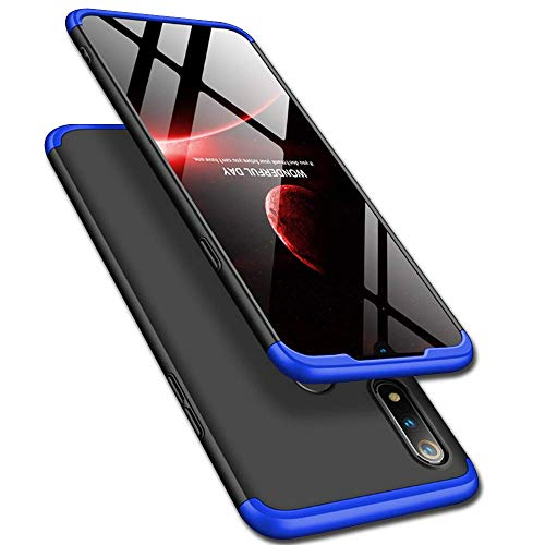 Designerz Hub® Designerz Hub® Ull Body 3 in 1 Slim Fit Complete 3D 360 Degree Protection Hybrid Hard Bumper Back Case Cover Designed for Realme 3i (Black & Blue)