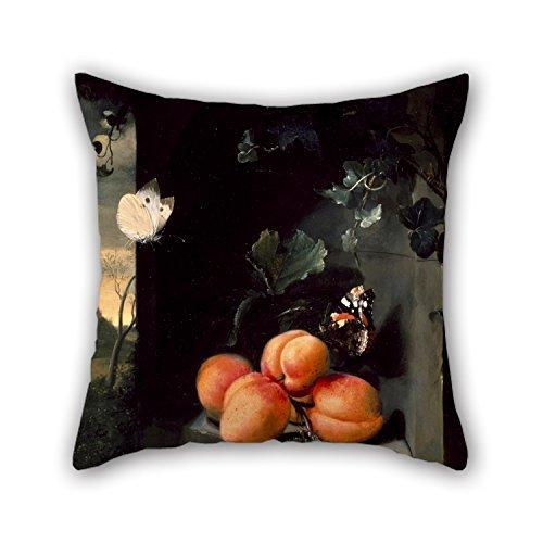 La Peinture à l'huile Jan Mortel – Still Life avec Apricotes et papillons Housses de coussin de 40,6 x 40,6 cm/40, 40 cm de cadeau de décoration pour l'intérieur Couples Gril ami Car Home Play R