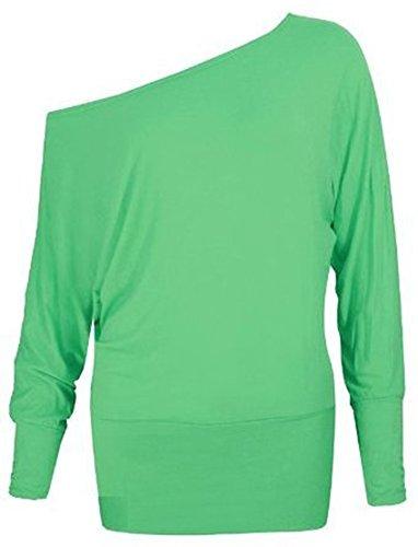 Mélanger lot de nouvelles femmes à la mode de l'épaule ample chauve-souris de mode sexy à manches longues soft touch haut robe casual de taille de plaine meilleurs femmes 36-42 Vert