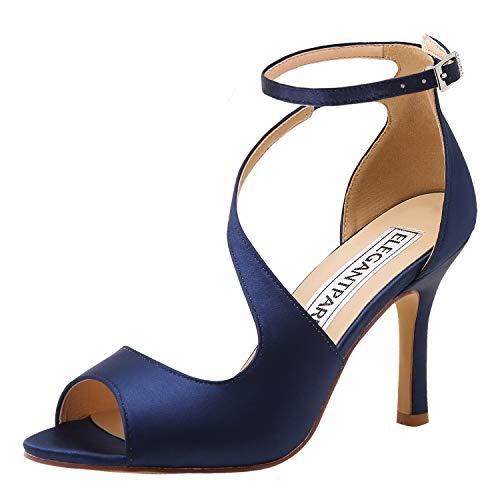 ElegantPark HP1565 Mujer Peep Toe Sandalias Boda Tacón De Aguja Correa De Tobillo Satén Zapatos De...