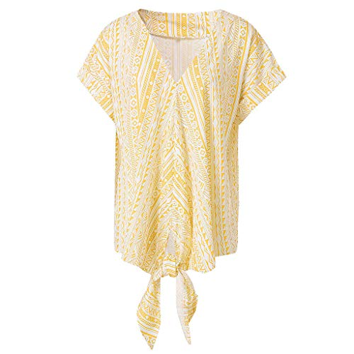 7b6e64381 TOPKEAL T Shirts Printing Knot Ladies Short Sleeve Loose V Neck Summer  Blouses Women Tops Tees