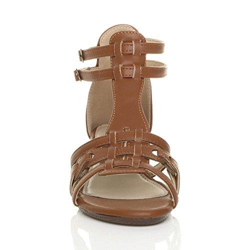 Femmes mi-bas talon compensé gladiateur romain salomé sandales pointure Brun clair