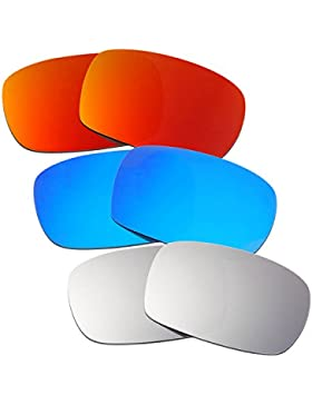 Hkuco Plus Mens Replacement Lenses For Oakley Crankcase Red/Blue/Titanium Sunglasses