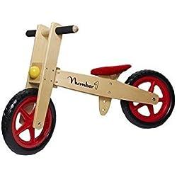 Juguetutto- Preciosa Bicicleta de madera que prepara a los niños para montar en las bicis de pedales, asiento regulable