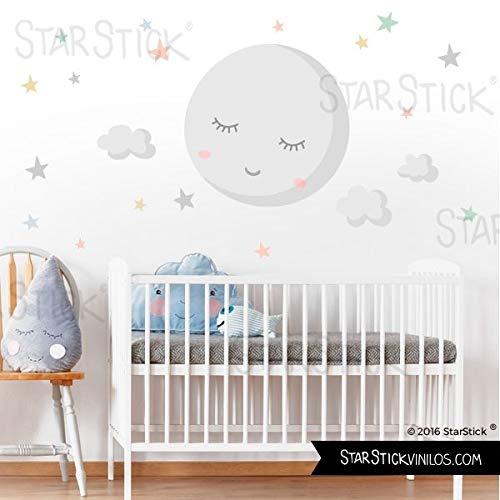 Vinilo para bebé - Luna llena con estrellas. Luna gris y estrellas de colores - T0- Basico 80x40 cm