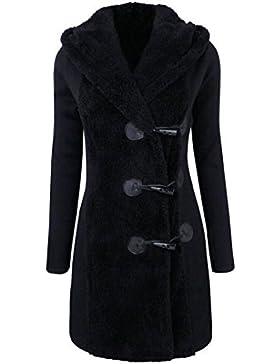 SHOBDW Moda mujeres invierno caliente más botones gruesos abrigo abrigo parka sudadera con capucha