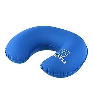 RUNACC Aufblasbar Kopfkissen U Form Nackenkissen Samt Komprimierbar Air Kissen mit Push-Button Geeignet für Rucksackreisen und Wandern (B)