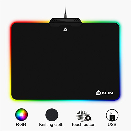 KLIM Tapis de Souris RGB Chroma - Tissu Haute Précision - Effets de Lumière - Plusieurs Modes - Gaming Gamer Jeux Vidéo