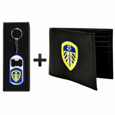 Leeds United Cuir (PU) Portefeuille et porte-clés/lampe torche Coffret cadeau