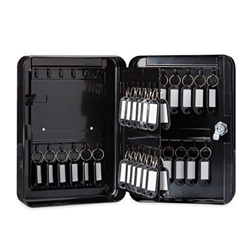 Relaxdays Schlüsselkasten Metall, abschließbar, 48 Haken, Schlüsselschrank inkl. Schlüsselanhänger, 25x18x7,5cm, grau