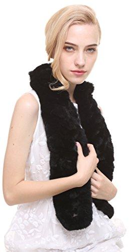 vogueearth Mujer'Real De Punto Conejo Pelaje Invierno Más Cálido Bufanda Fular Negro