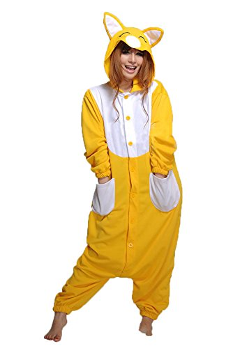 Ovender® Kigurumi Pigiami Animali Unisex Donna Uomo Costume Carnevale Halloween Cosplay Unicorno Orsetto Coniglio Lupo Pinguino Panda Festa Party Zoo Onesies Tuta Anime (Medium, Volpe)