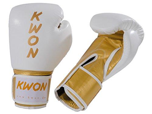 KWON® Boxhandschuhe KO Champ 10oz gold/weiß Kickboxhandschuhe Leder