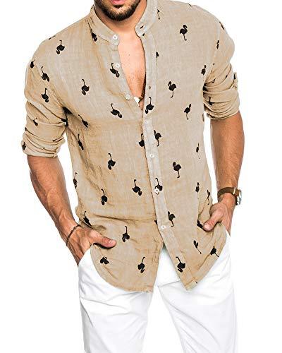 Über Baseball-t-shirt (Pxmoda Herren Hemd Langarm Hawaiihemd mit Flamingo Stoffdruck Roll up Leinenhemd Sommerhemd mit Hawaii-Print)