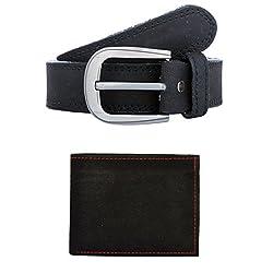 Exotique Mens Black Casual Belt & Wallet Combo (EC0052BK-XL)