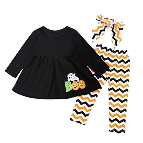 (Fuibo Baby Halloween Kleidung, Kleinkind Infant Baby Mädchen Brief Geist Kleider Hosen Halloween Kostüm Outfits 1PC Kleid + 1PC Hosen + 1PC Stirnbänder (24M-3T(110), Schwarz))