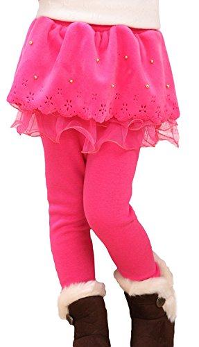 La Vogue-Pantaloni da Bambina Gonna Leggings Elastico Collant Caldo Lunghezza 80cm Rosa
