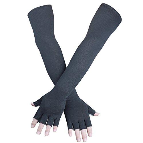 EXski UV-Schutz Armstulpen Armlinge Sonnenschutz Arm Ärmel Sleeve Armwärmer mit Handschuhe Radfahren Running Gartenarbeit Kühlung Atmungsaktiv