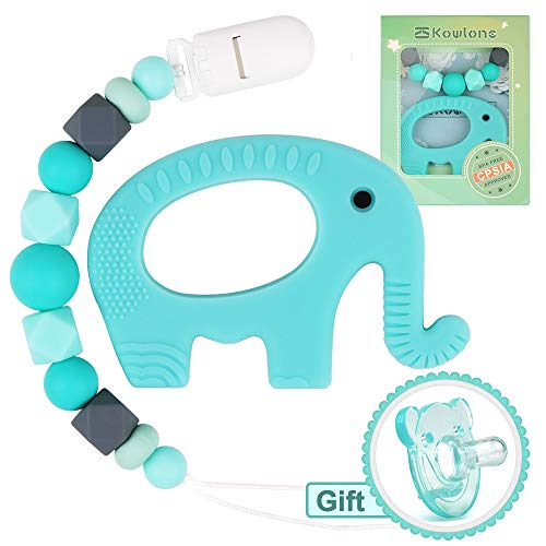 Chupete Clips Elefante Mordedor Dentición Maniquí Chupete Cadena Porta juguetes sensoriales Chew...