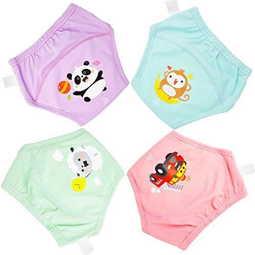 Flyish 4 Packungen Baby-Trainingshose Kleinkinder Training Unterwäsche Stark saugfähige Trainingshose Töpfchenhose Windeltraining Unterwäsche