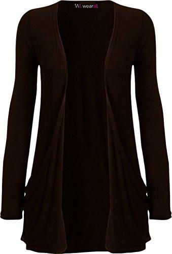 WearAll - Damen langarm Cardigan mit taschen - 17 Farben - Größe 36-50 Braun