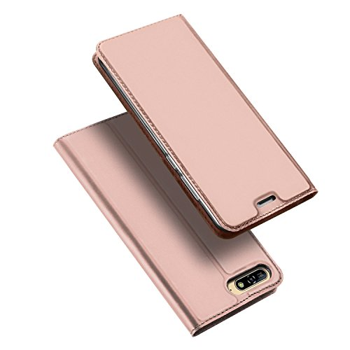 DUX DUCIS Huawei Y6 2018 Hülle,Flip Folio Handyhülle [Standfunktion] [1 Kartenfach] [Magnet] [Anti-Rutsch] Ultra Dünn Ledertasche Schutzhülle Case Cover für Huawei Y6 2018 (Rose Golden)