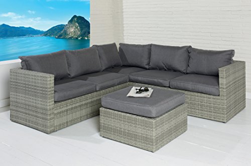 POLY RATTAN Sitzgruppe Sofa Lounge Set grau Gartenmöbel Terrassen Garten Gruppe