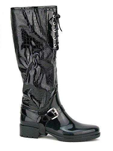 Cendriyon, Botte Caoutchouc Noir ELLALUX Chaussures Femme Noir