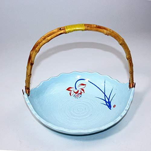 PORCN Chinesischen Stil Wohnkultur Zen Blumenschmuck Blumenkorb Keramik Blumentopf Tischplatte Blumentopf Obstteller Ablagekorb, B (Chinesische Dessertteller)