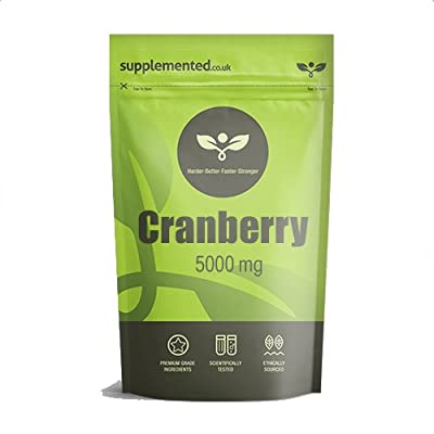 Cranberry 5000mg 180 Tablets, High Strength Supplement Extract Pills by Supplemented.co.uk