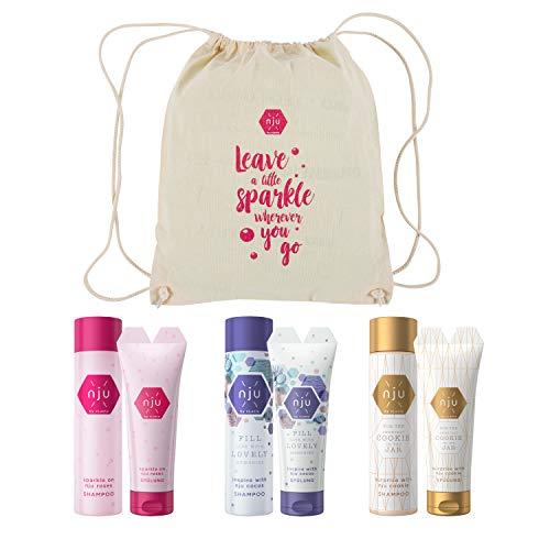 nju Limited Edition Beutel mit 6x hochwertigen Haarprodukten - 3x Pflegeshampoo 3x Haarspülung - cocos cookie roses - Vegan - ohne Silikone